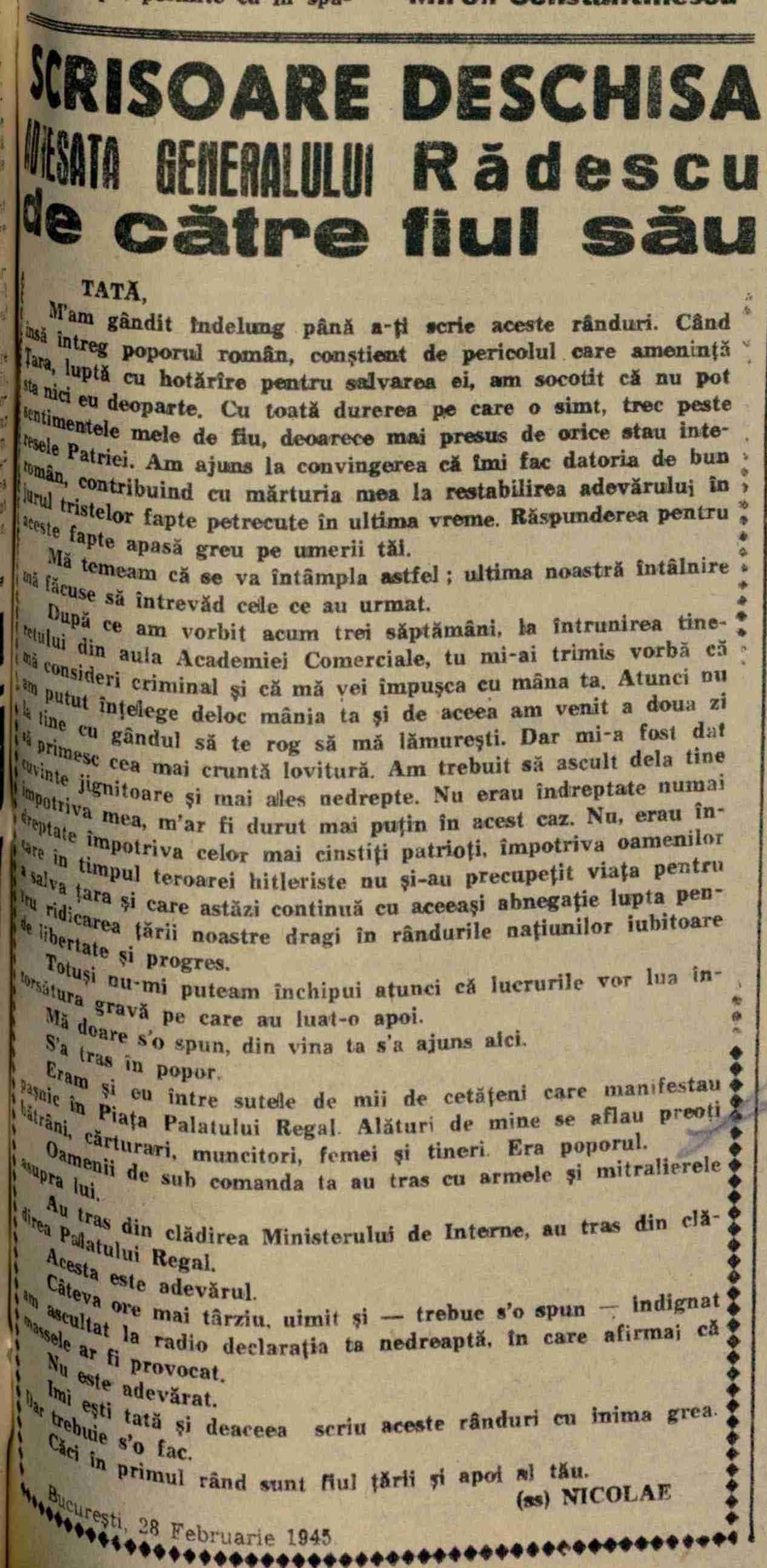 Scanteia 2 martie 1945 Scrisoarea fiului lui Radescu
