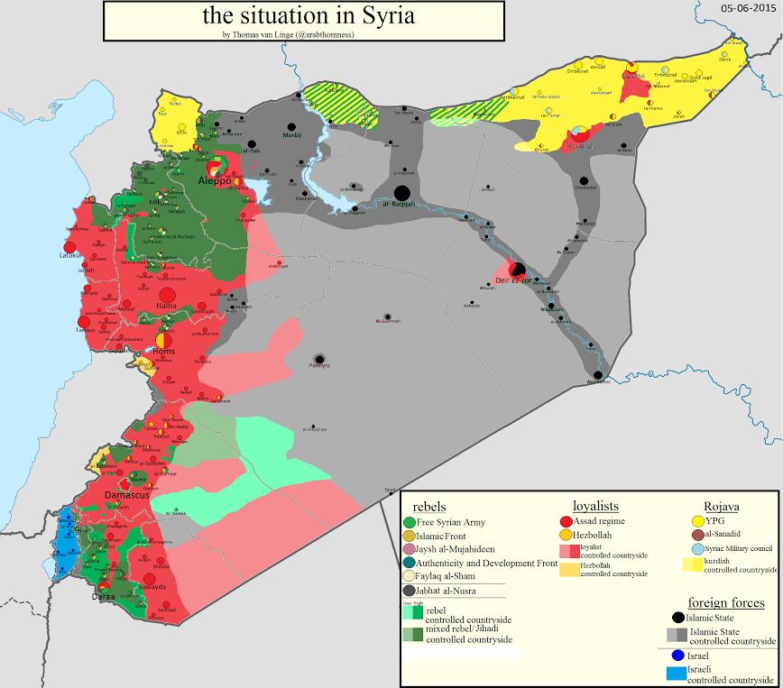 Situația de pe fronturile de luptă din Siria în vara 2015
