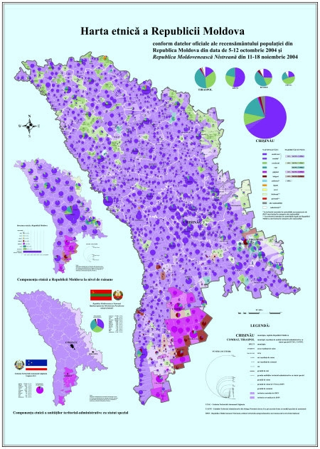 Harta etnică a Republicii Moldova conform recensămintelor din 2004 făcute de conducerile de la Chişinău respectiv Tiraspol. Sursă: Wikimedia