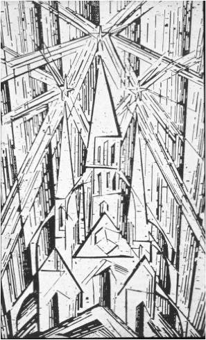 Lionel Feiniger, Catedrala, gravura in lemn, 1919
