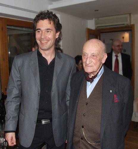 Neagu Djuvara si Bogdan Andrei Fezi in 2011 dupa lansare cartii Bucurestiul European